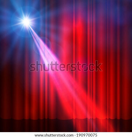 Spotlight on red stage curtain. Vector illustration.  - stock vector
