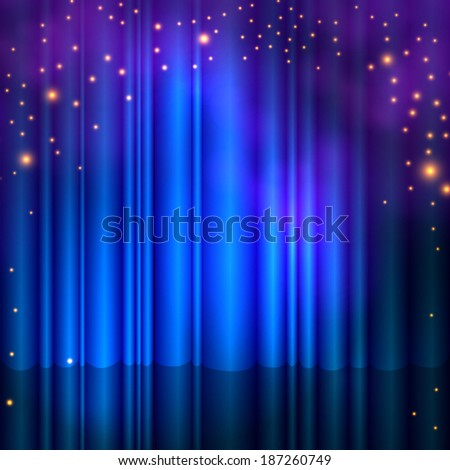 Spotlight on stage blue curtain with smoke & lights. Vector illustration.