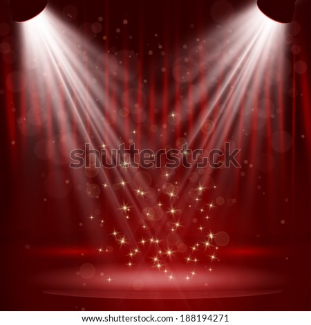 Spotlight on stage curtain with stars. Vector. - stock vector