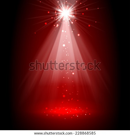 Spotlight red on stage. vector - stock vector