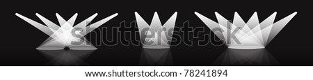 Spotlight vector set illustration with reflection on black background - stock vector