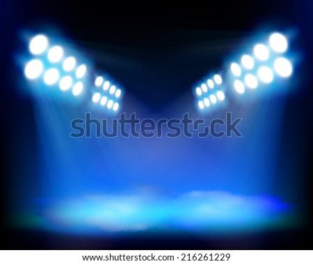 Spotlights beams. Vector illustration. - stock vector