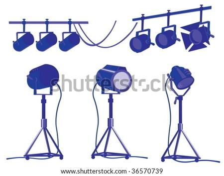 Spotlights for cinema and theater - stock vector