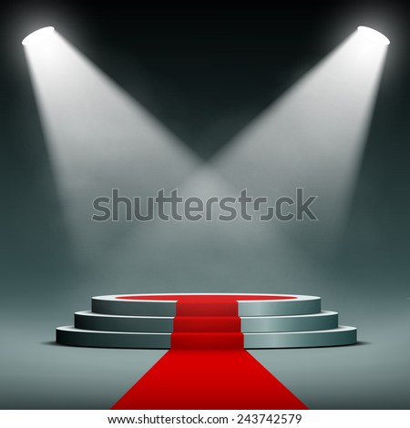 spotlights illuminate the pedestal with red carpet - stock vector