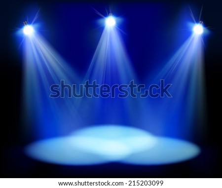 Spotlights on the stage. Vector illustration. - stock vector
