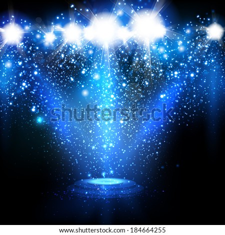 Spotlights with Blue rays - stock vector