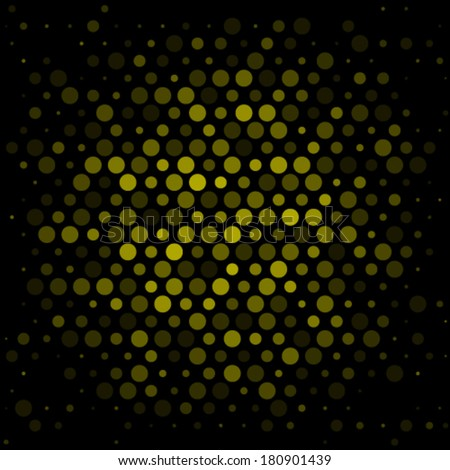 Spotted abstract background halftone effect, with black background. Yellow illustration.