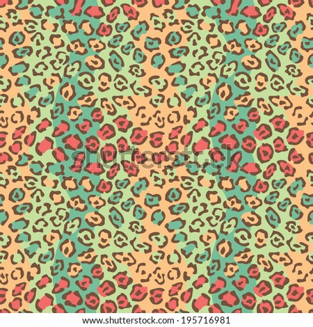 Spotted Cat Pattern in wild colors is a 4-tile repeat. - stock vector