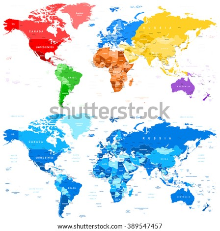 Spotted Color And Blue World Map