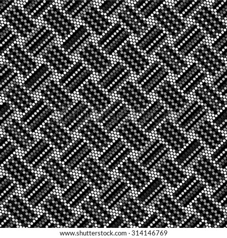 Spotted seamless grunge weaving abstract line background halftone effect. Polka dot textile vector illustration