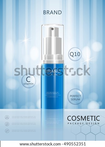 Spray bottle poster design, 3D illustration realistic cosmetic package design isolated on blue background