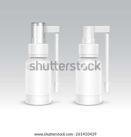 Spray Bottle White Plastic Packaging Container Set. Medical Cosmetic Care. Blank Isolated Vector Illustration - stock vector