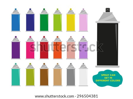 Spray Can Set in different colors. Editable Clip Art. - stock vector