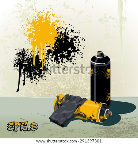 Spray cans to paint graffiti and gloves eps8 .
