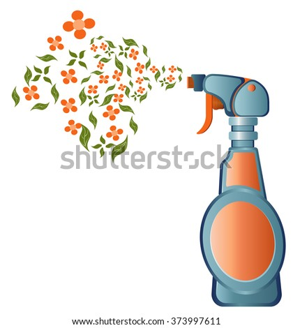 spray detergent with flowers - stock vector