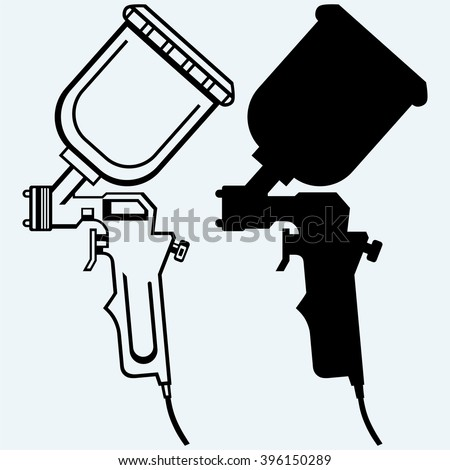 Spray gun. Isolated on blue background. Vector silhouettes - stock vector