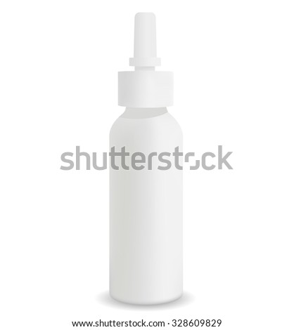Spray Medical Nasal Antiseptic Drugs Plastic Bottle White - stock vector