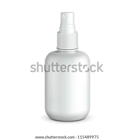 Spray Medicine Antiseptic Drugs Plastic Bottle White. Ready For Your Design. Product Packing Vector EPS10 - stock vector