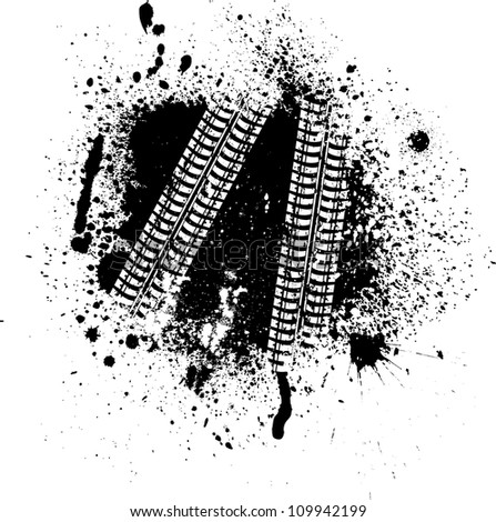 Spray paint blots with white tire tracks - stock vector