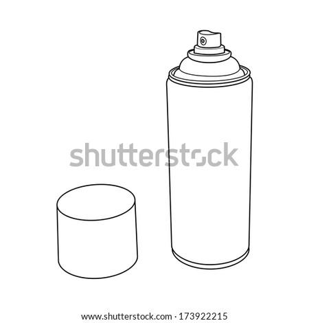 Spray Paint Can outline vector - stock vector
