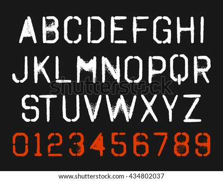 Spray Paint Stencil Font Type Alphabet Stock Vektorgrafik