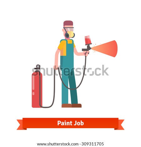 Spray painting specialist spraying red paint from pulveriser and tank wearing mask and uniform. Flat style vector illustration isolated on white background. - stock vector