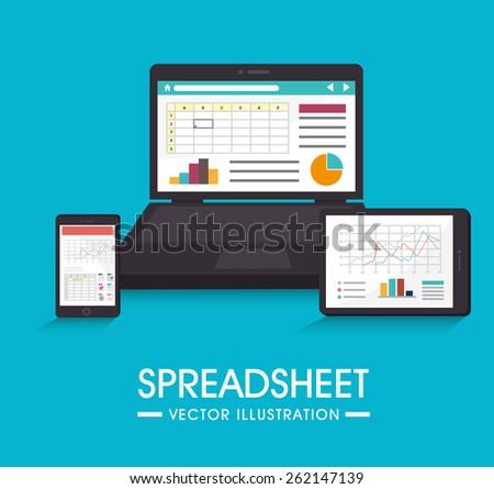 Spreadsheet design over blue background, vector illustration. - stock vector