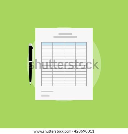 Spreadsheet icon design. Spreadsheet documents. - stock vector