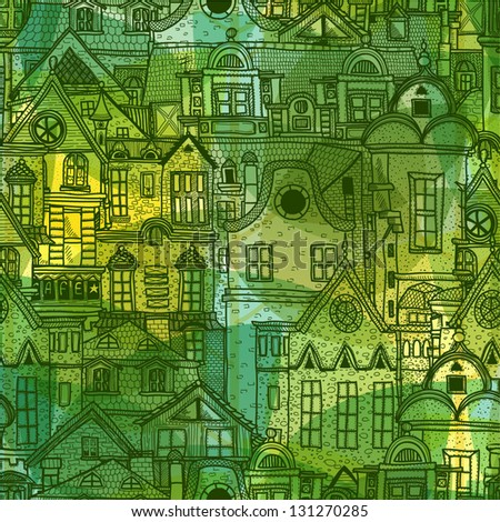 Spring abstract background with old town - stock vector