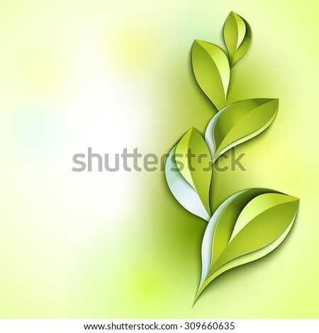 Spring abstract vector background. Green leaves. Paper design