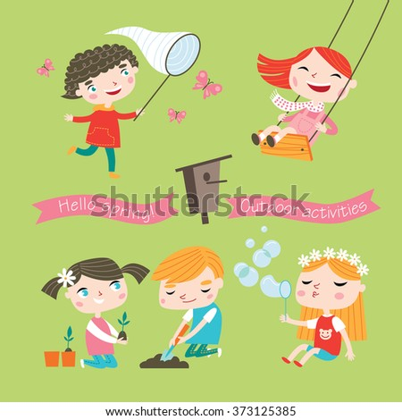 Spring and summer child's outdoor activities. Happy childhood. Vector set on a yellow-green background. - stock vector
