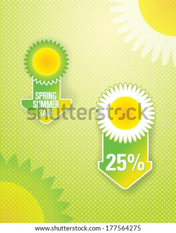 Spring and summer sale labels / price tags for web or print. - stock vector