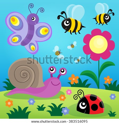 Spring animals and insect theme image 1 - eps10 vector illustration.