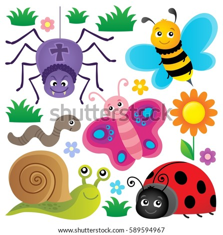 Spring Animals Insect Theme Set 3 Stock Vector 589594967 ...