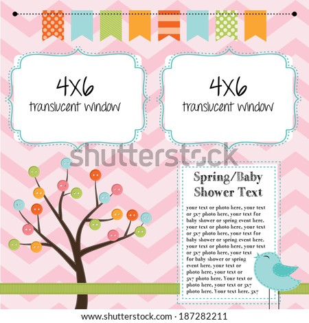 Spring, baby shower, or summer layout with trees, birds and banner or bunting, background for scrapbooking, vector format - stock vector