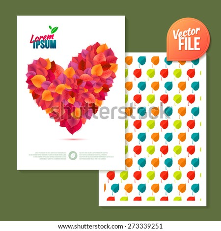 Spring background/card with pink leaf heart Power of Love. Vector template 2-sided Card - stock vector