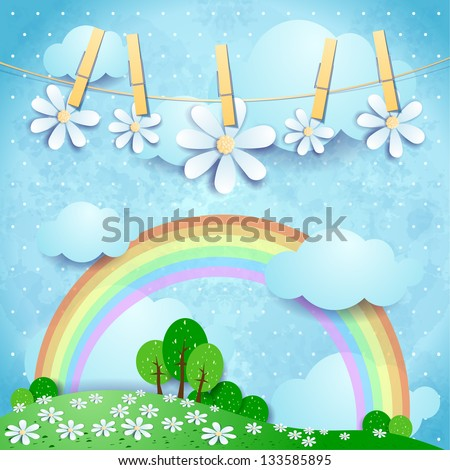 Spring background, fantasy illustration. Vector - stock vector