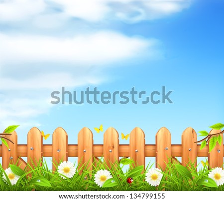 Spring background, grass and wooden fence vector - stock vector