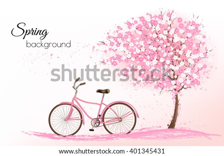 Spring background with a blossoming tree and a bike. Vector. - stock vector