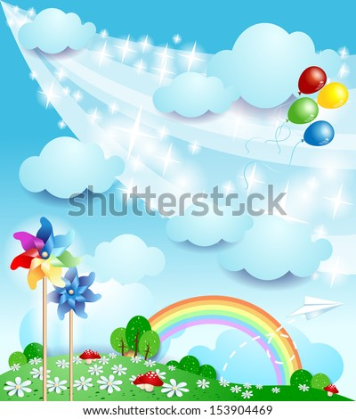 Spring background with balloons, vector - stock vector