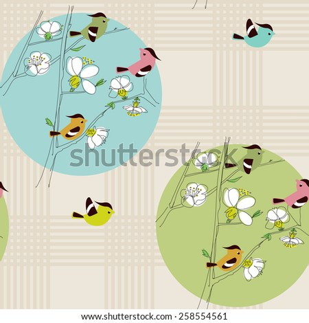 spring background with birds and flowers - stock vector