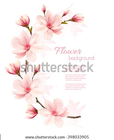 Spring background with blossom brunch of pink flowers. Vector - stock vector