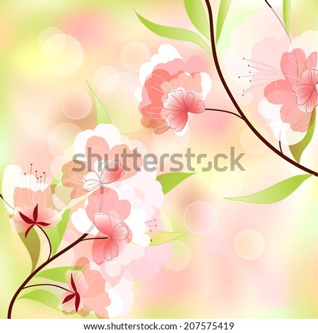 spring background with cherry blossoms - stock vector
