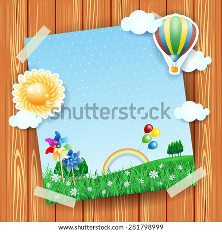 Spring background with copy space, collage. Vector illustration eps10 - stock vector