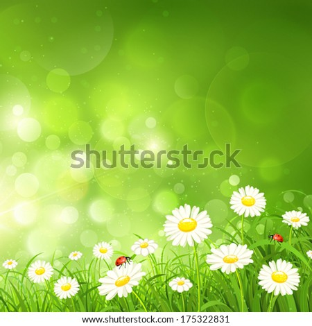 Spring background with flowers - stock vector