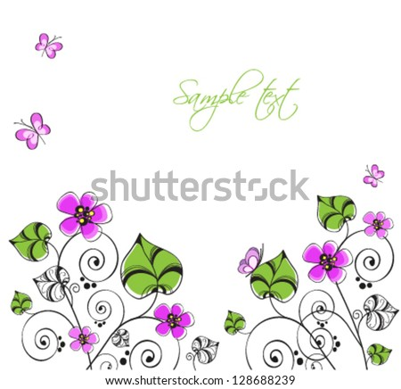 Spring background with flowers and butterflies - stock vector
