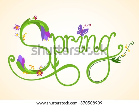 Spring background with flowers and butterfly. Vector EPS 10.  - stock vector