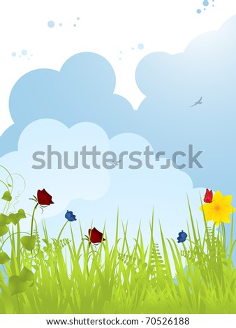 Spring background with flowers and fluffy clouds