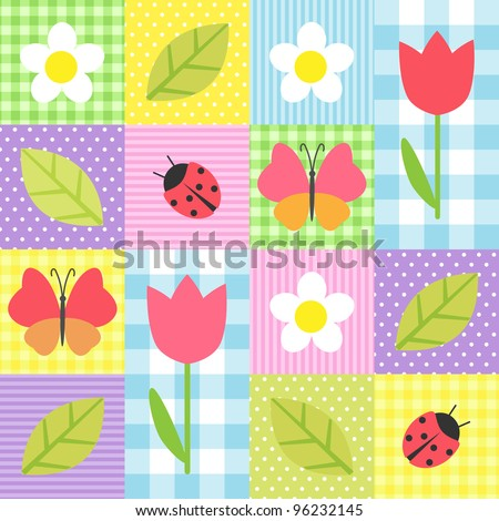Spring background with flowers, butterflies, ladybugs and leafs - stock vector