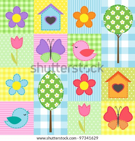 Spring background with flowers, trees, birdhouses and butterflies - stock vector